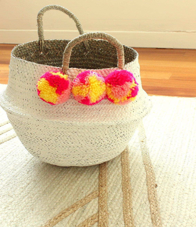 Dipped White Sea Grass Belly Basket Panier Boule Storage Nursery Toy Laundry Easter Medium