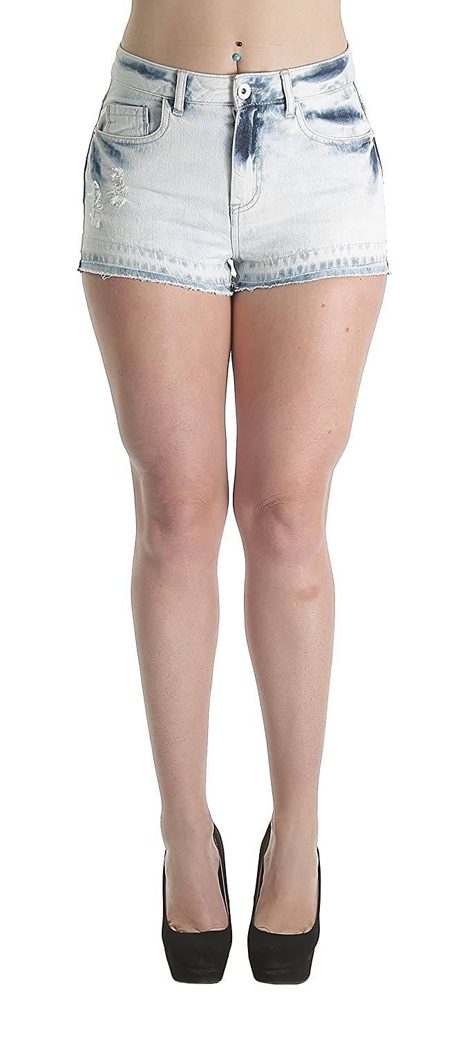 WX8801W-SH 鈥�ollhouse, Premium Destroyed Bleached Ripped High Waist Short Shorts