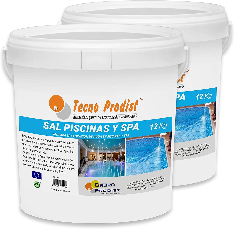 Tecno Prodist Sal Piscinas Sal Especial para la cloración Salina de Piscinas y SPA - Pack 2 Cubos de 12 KG