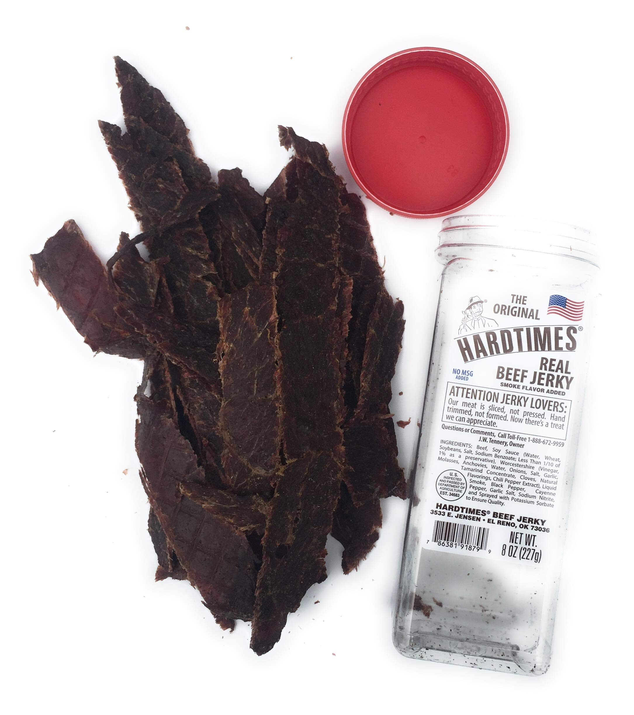 HARD TIMES 8oz Jar Original Real Beef Jerky Sliced Hand Trimmed Dry Tough Jerky For HardTimes by hard times (Image #3)