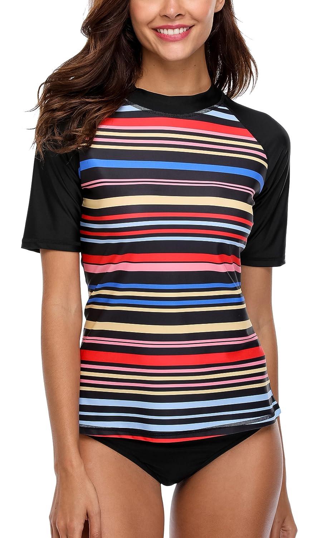 Bademode Attraco Shirts Bunt Uv Streifen Guard Damen Rash X8nOP0wk
