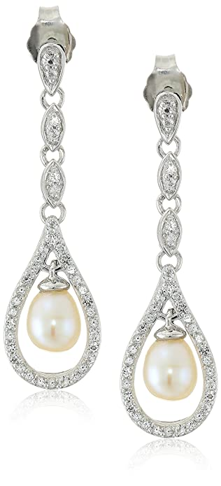 e1c4ff4e1d Image Unavailable. Image not available for. Color: Sterling Silver  Freshwater Cultured Pearl with White Topaz Post with Friction Back Drop  Earrings