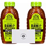 Nature Nate's 100% Organic Pure Raw & Unfiltered Honey (2 Pack) in Dependable Packaging to Prevent Breakage with LP card Bundle (2 Pack - 16 oz each)