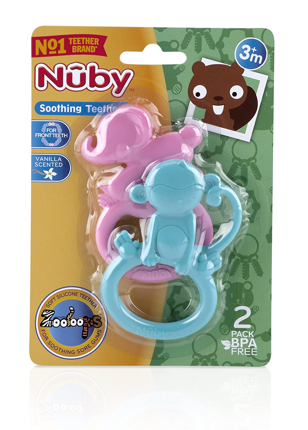 Nuby 2-Pack ZooLoops Teethers Colors May Vary 681