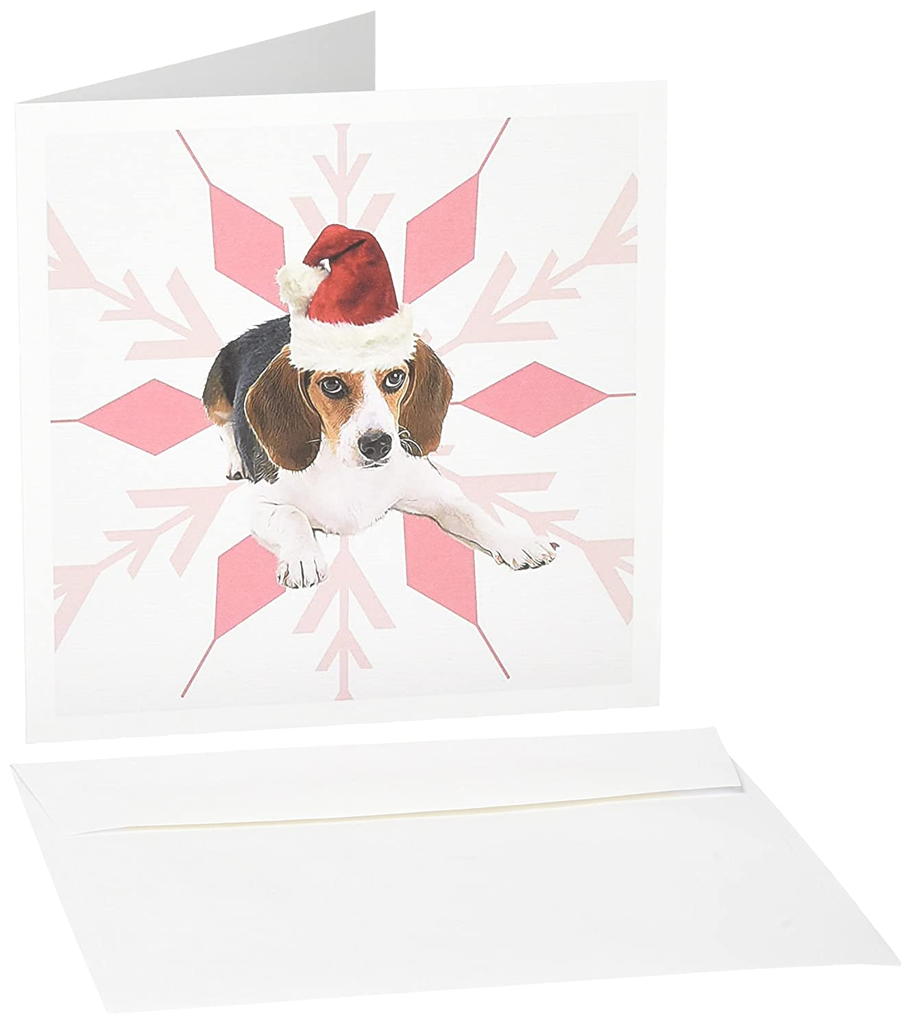 Amazon.com : Beagle Dog Breed in Santa Hat with Snowflake Christmas ...