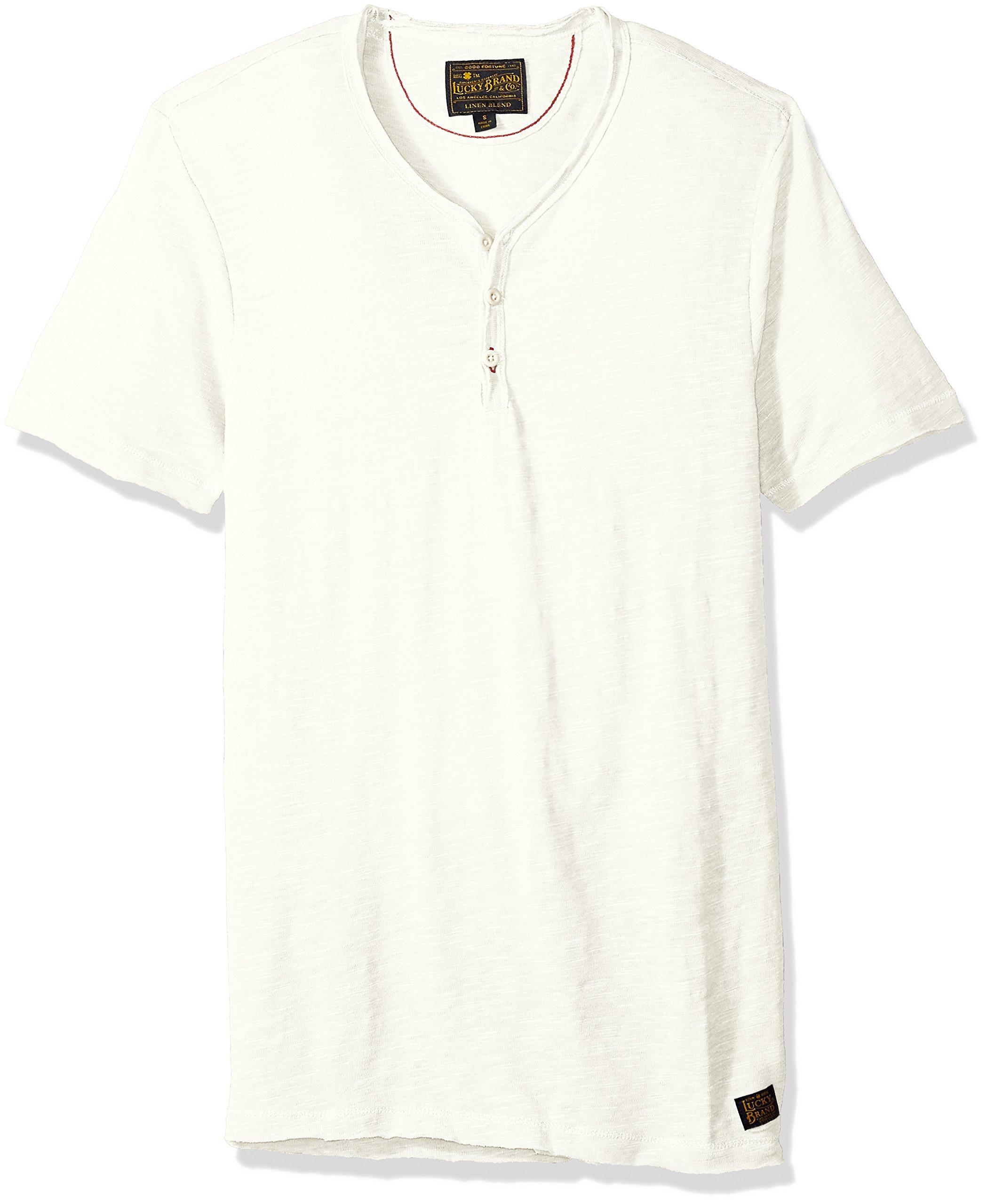 Lucky Brand Men's Raw Edge Y Neck Henley Shirt, Marshmallow, L