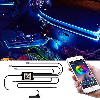 Wilktop Led Innenbeleuchtung Auto 6m Led Auto Led Strip Rgb Streifen Licht Neonleuchtleisten Ambientebeleuchtung Innenraumbeleuchtung Lichtleiste Mit App Beleuchtung