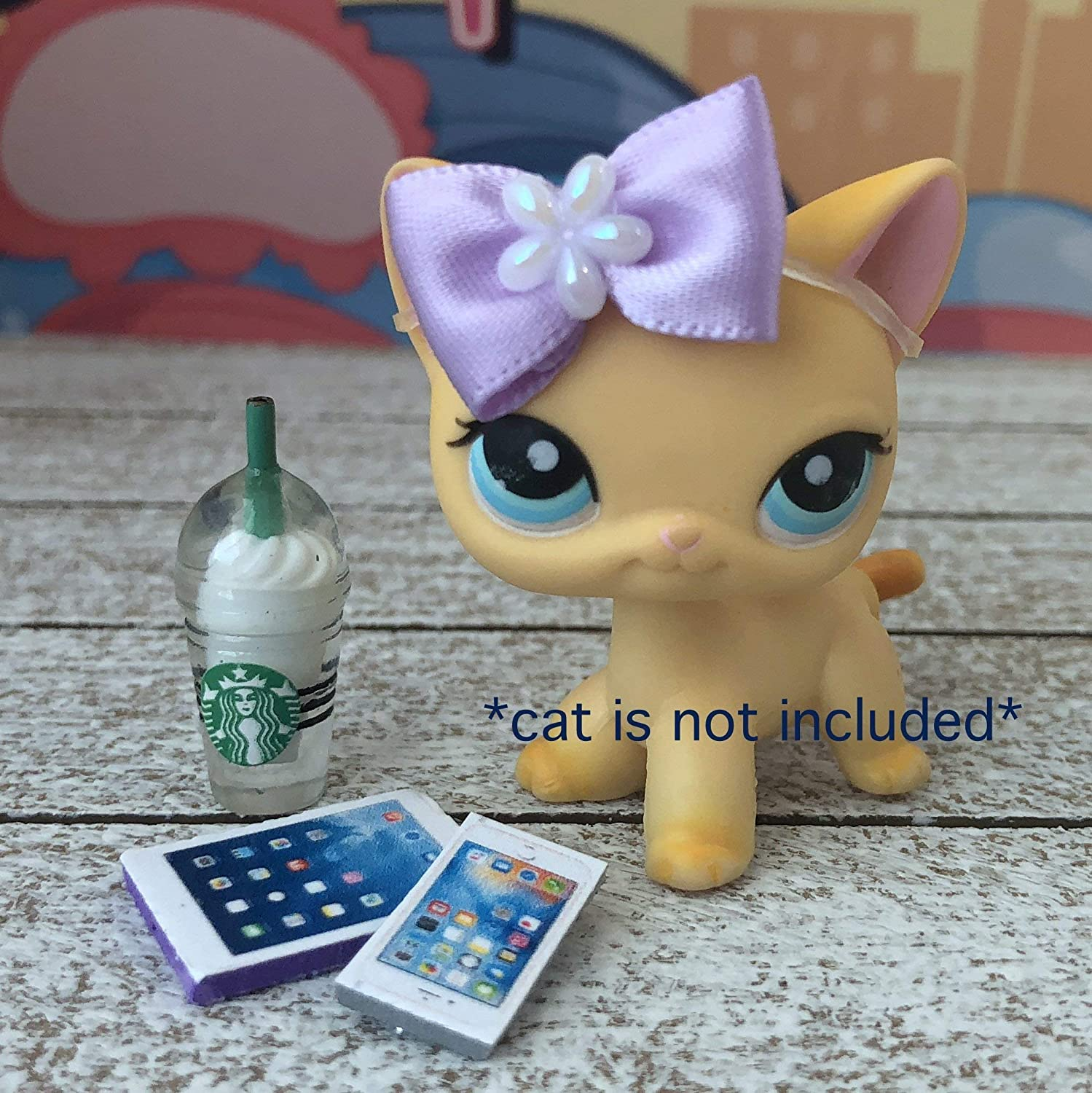 Littlest Pet Shop Accessories LPS Lot Bow Starbucks CAT NOT INCLUDED …