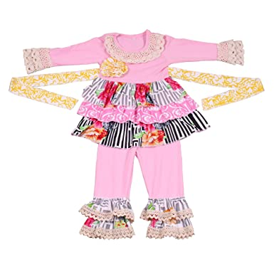 fa5ffe0ff Amazon.com: Yawoo Haan Baby Clothing Children's Boutique Girls Winter Clothes  Kids Outfit Pants Set with Sash: Clothing