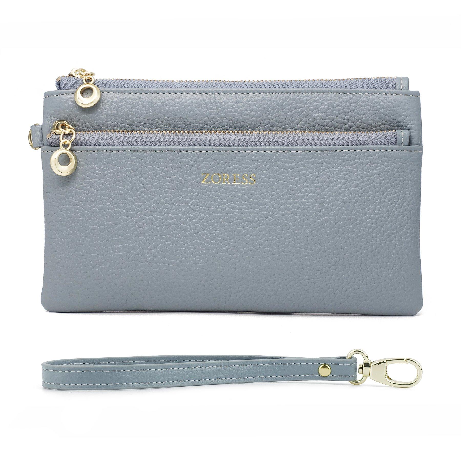 ZORESS Women Genuine Leather Wristlets Bag, Clutch Organizer Wallets Purses for iPhone(Blue Long)