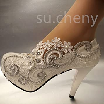 ec6489a6a JINGXINSTORE Tacón de 8 cm 3 encajes de Cristal Blanco zapatos de boda  novia tamaño bombas 5-12