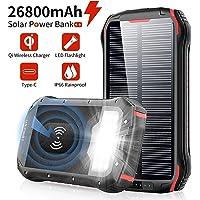 Solar PowerBank 26800mAh Cargador Solar, QI Carga inalámbrico, batería Externa de 4 Puertos (USB/QI), Carga rápida 3.1A Tipo C para Tabletas, Teléfono móvil, Linterna LED 18 para Viajes de Campamento