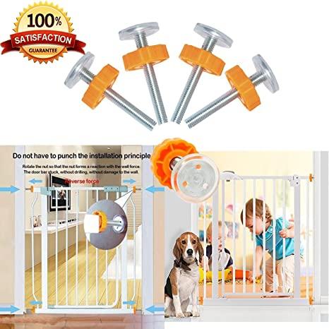 Style 2 Pressure Mounted Baby Gates Threaded Spindle Rods,4Pcs Spindle Screw Mounted Bolts Kit for Stair Gates Dog Gate