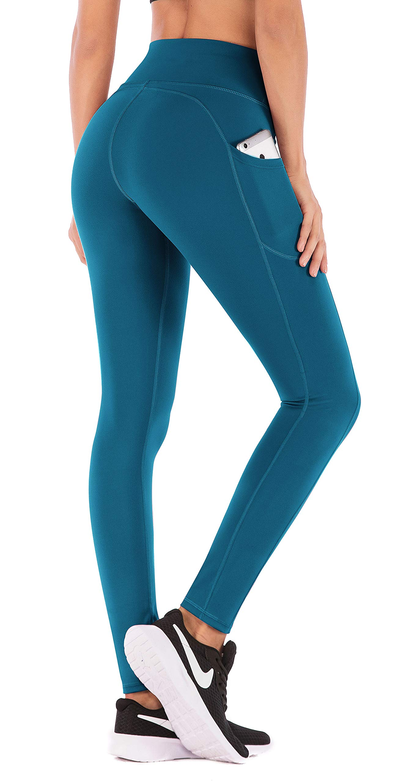 IUGA High Waist Yoga Pants with Pockets, Tummy Control, Workout Pants for Women 4 Way Stretch Yoga Leggings with Pockets (Peacock Blue 840, Medium) by IUGA