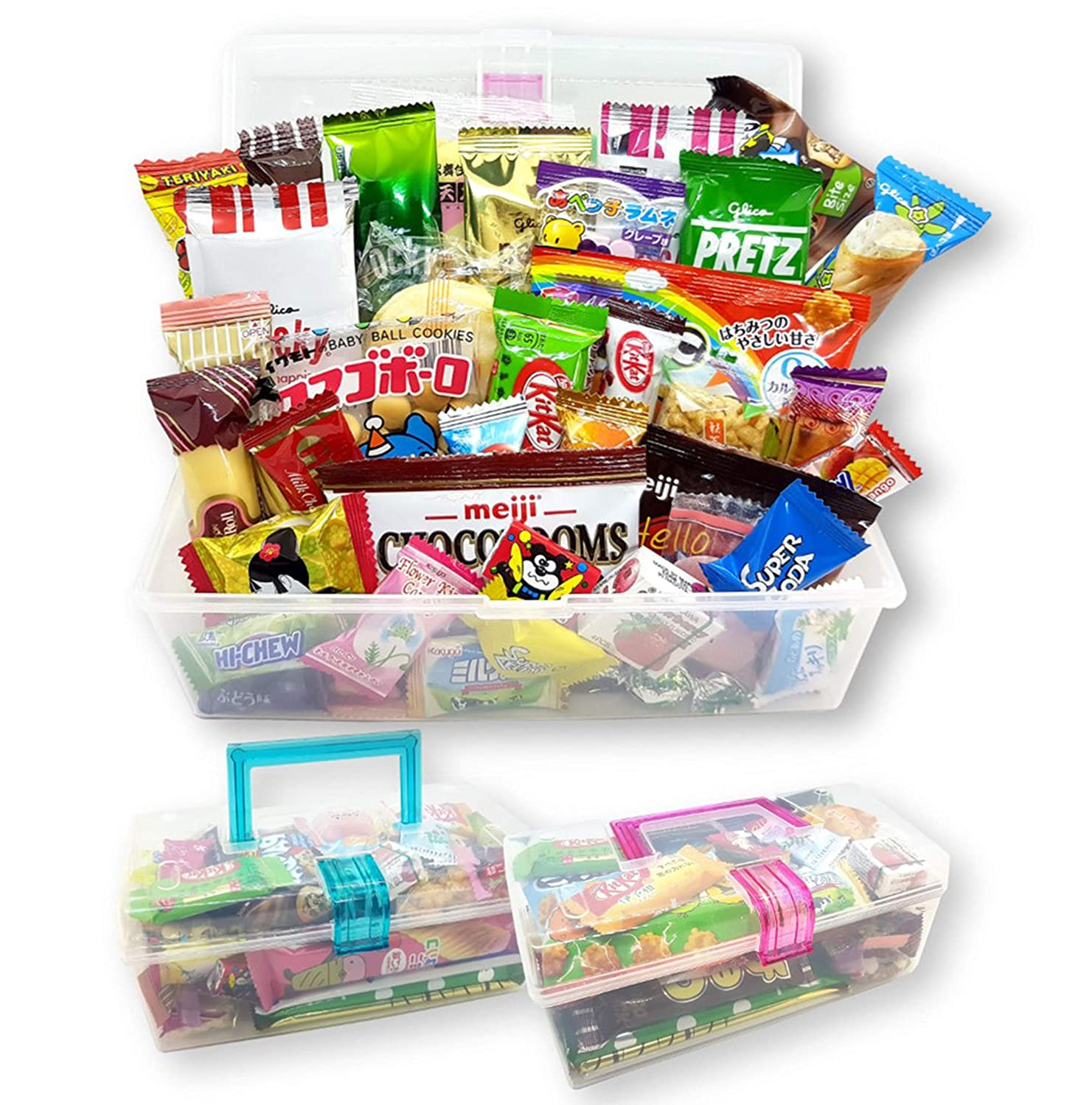 Japanese Snacks Dagashi Assorted Gift Box in Reusable Tote Box 40 Pieces