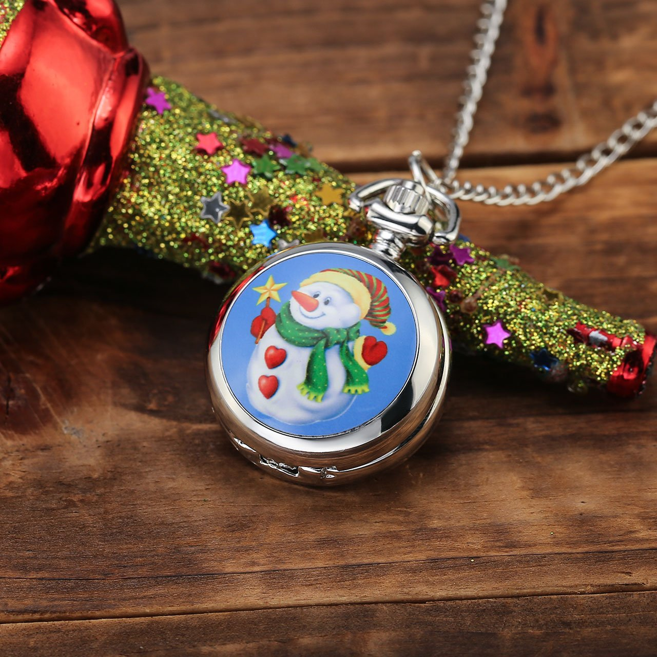Top Plaza Christmas Gifts Snowman Santa Claus Silver Retro Quartz Analog Fob Pocket Watches Pendant Neckalce With Chain for Kids(Snowman)
