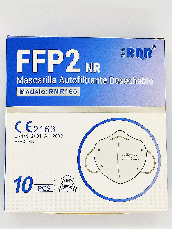 RNR Mascarillas FFP2 Desechables Color Blanco 5 Capas No Reutilizables Transpirables Plegables con Pinza Nasal PFE ≥ 94% Certificadas y Homologadas CE 2163, Caja de 10 unidades