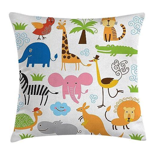 Xukmefat Animal Throw Pillow Cojín, Lindo Conjunto de Jirafa ...
