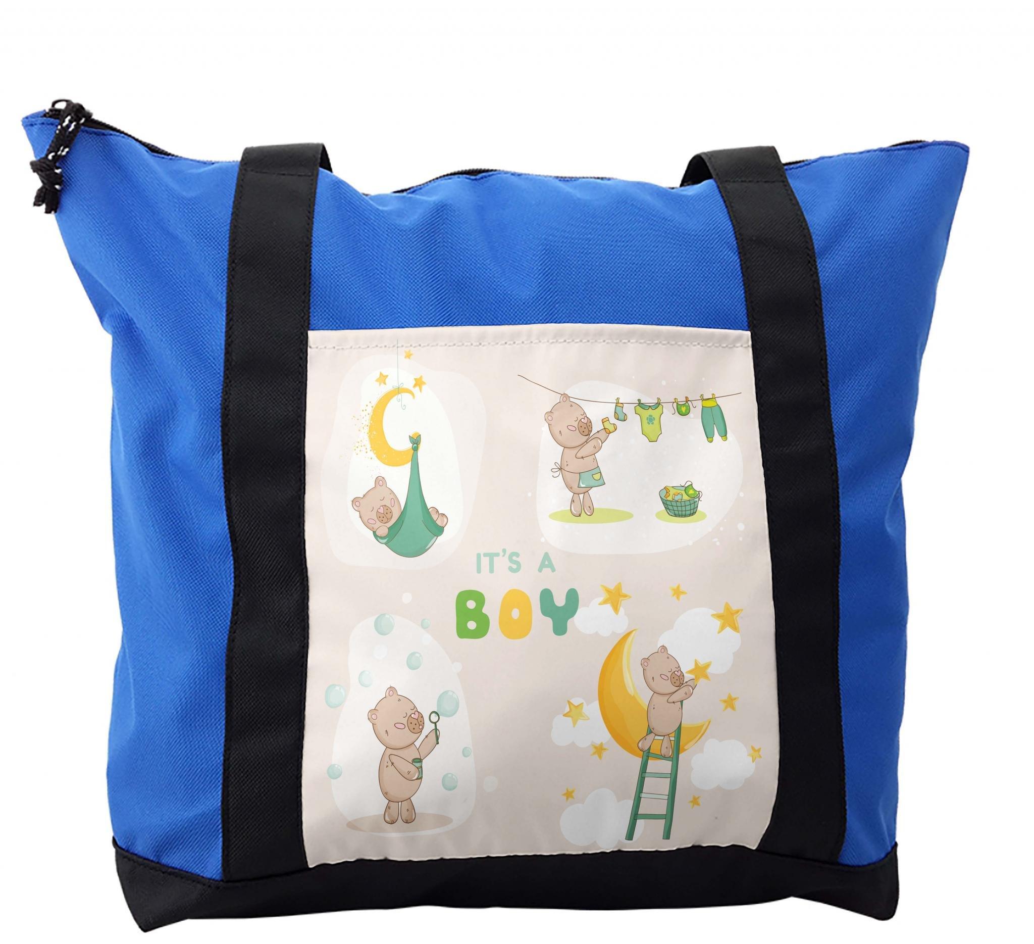 Lunarable Baby Shower Shoulder Bag, It's a Boy Teddy Bear, Durable with Zipper