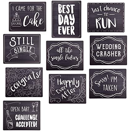 1f5faa74f95 Amazon.com  Wedding Photo Booth Sign Props - Set of 5 - Double Sided ...