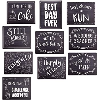 Amazoncom Wedding Photo Booth Sign Props Set Of 5 Double Sided