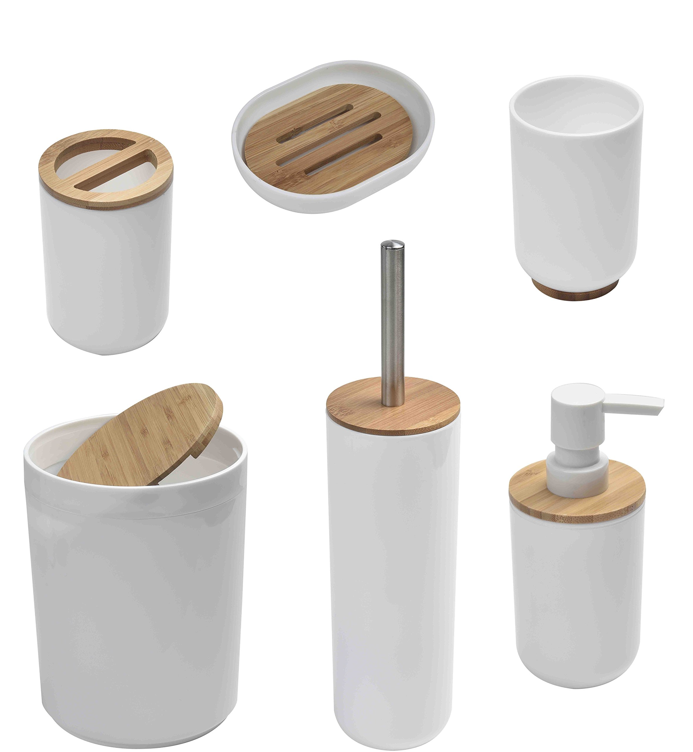 EVIDECO Round Bathroom Floor Trash Can Padang, White/Brown by EVIDECO (Image #7)