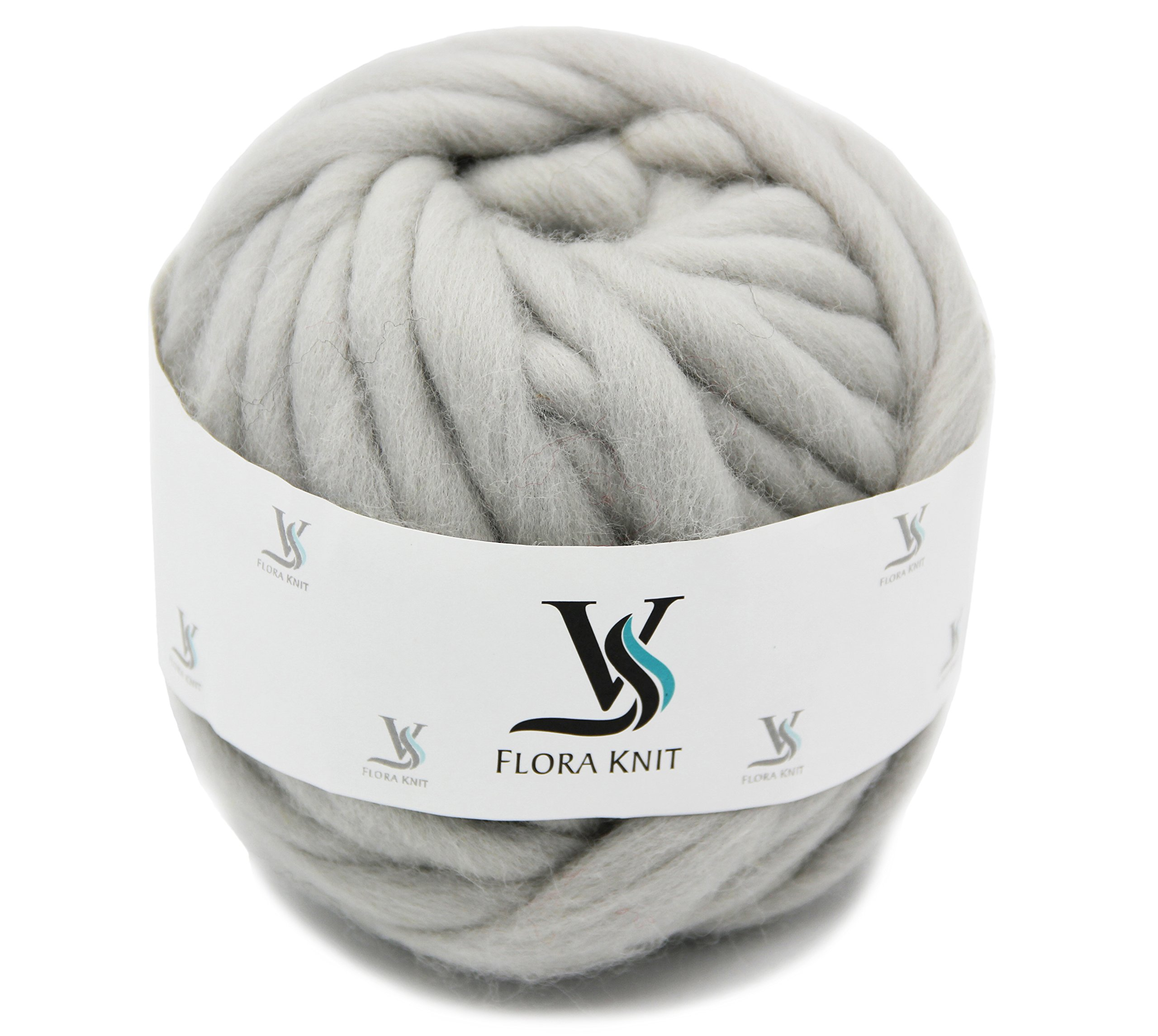 Merino Wool Super Chunky Yarn- Bulky Roving Yarn for Finger Knitting,Crocheting Felting,Making Rugs Blanket and Crafts by FLORAKNIT (Light Gray, Chunky-40mm-1.1LB) by FLORAVOGUE
