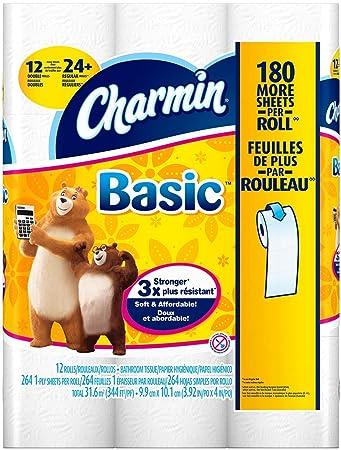 Amazon.com: Charmin Basic Toilet Paper 12 Double Rolls = 24 ...