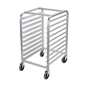 Profeeshaw Bun Pan Bakery Rack 10 Tier with Wheels, Aluminum Racking Trolley Storage for Half or Full Sheets