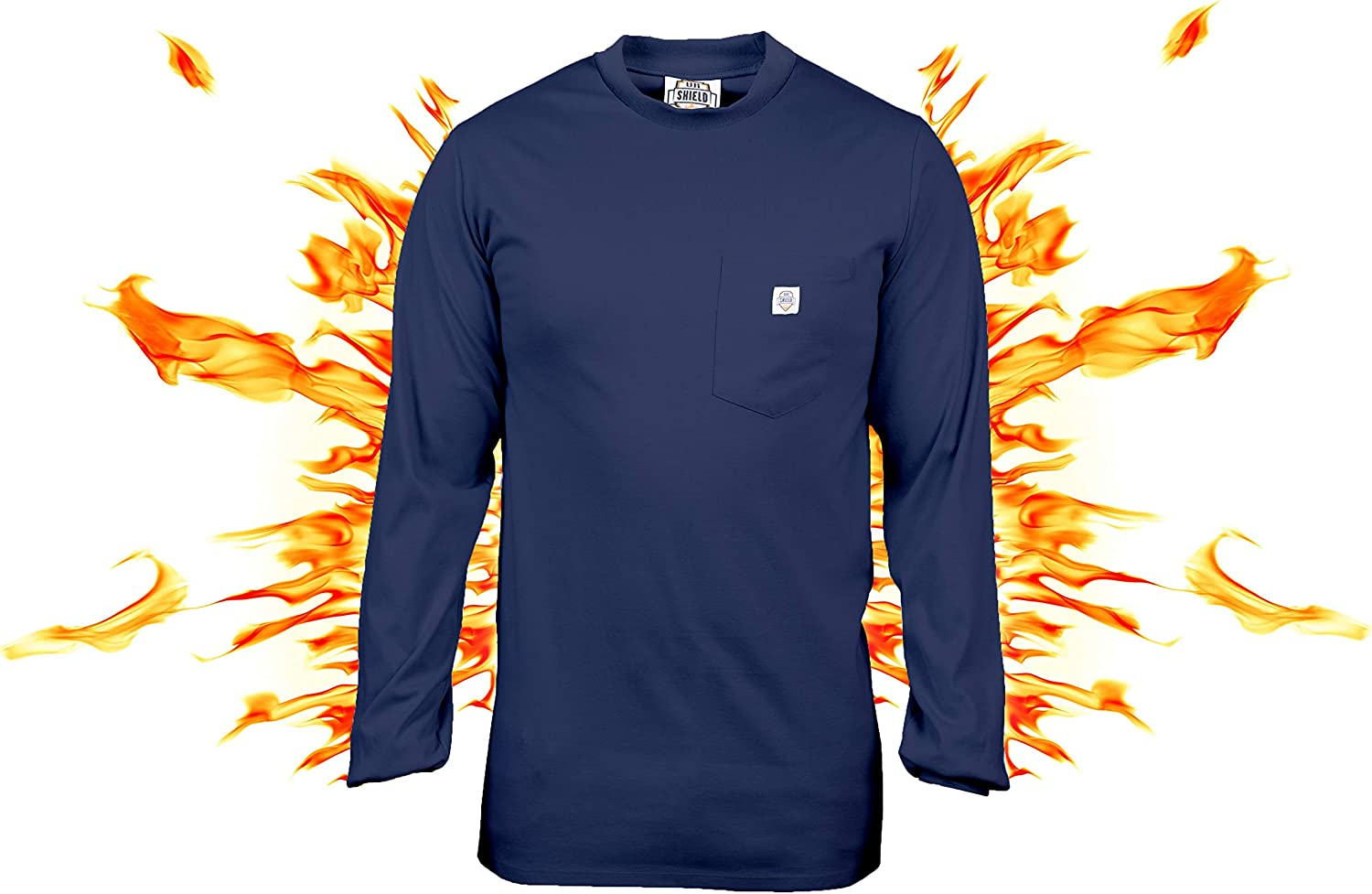 Dripping More Navy FR T-Shirt Defies Melting Ur Shield Fire Resistant 7 oz Welders Cotton Long Sleeve T-Shirt Fire Retardant Clothing for Electricians FR Tee Shirt After-Burning