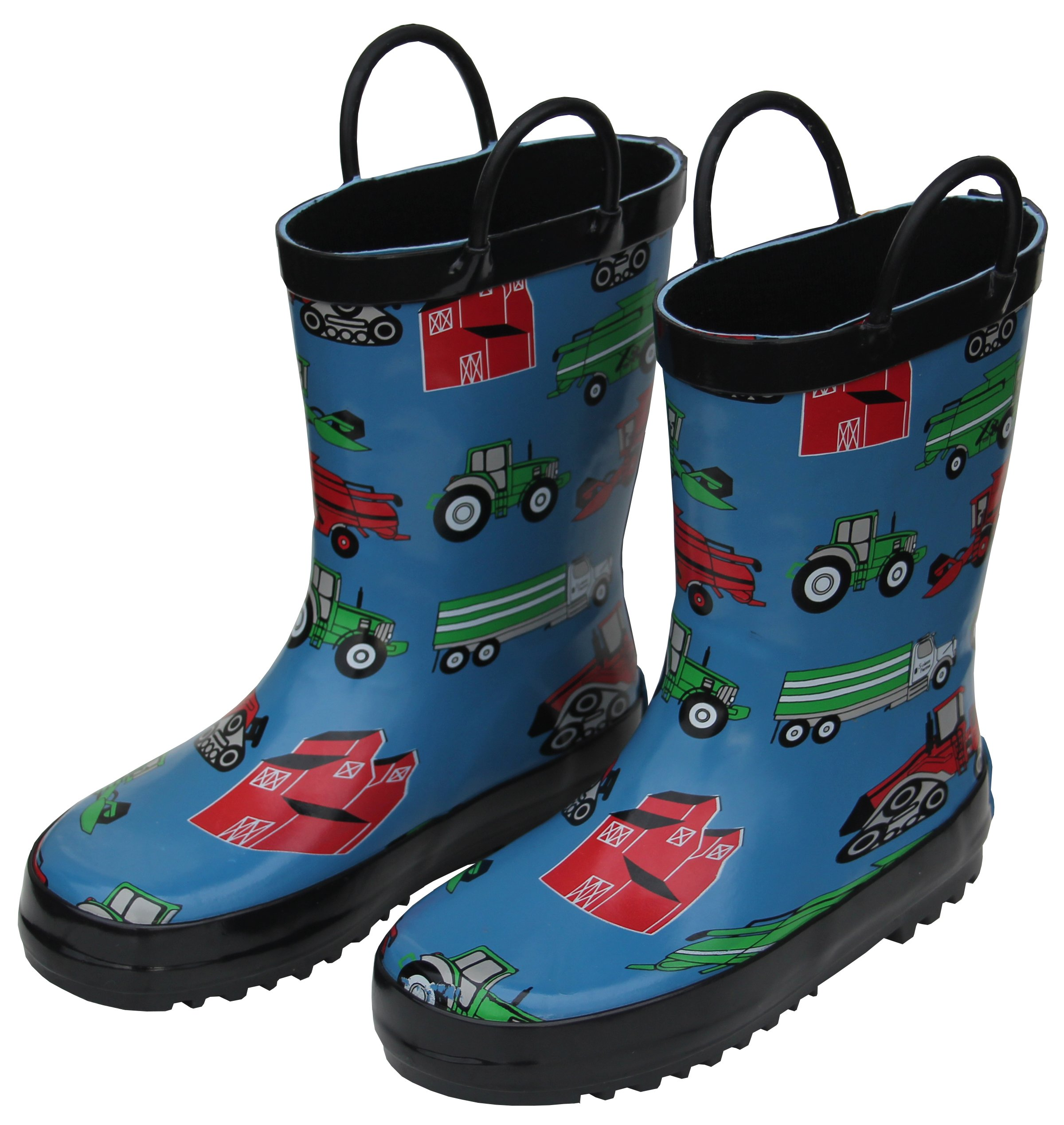 Foxfire for Kids Blue with Farm Equipment Rubber Boots Size 11
