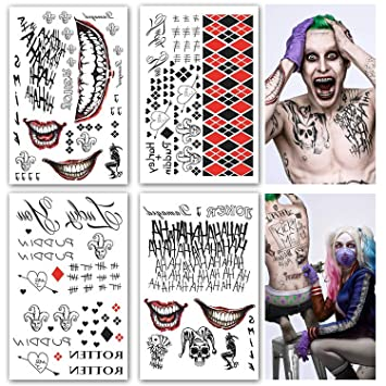Leoars Large Temporary Tattoos Full Body Bundle Suicide Squad Harley Quinn Joker Cosplay Temporary Tattoo Sticker Halloween Props Costume Cosplay