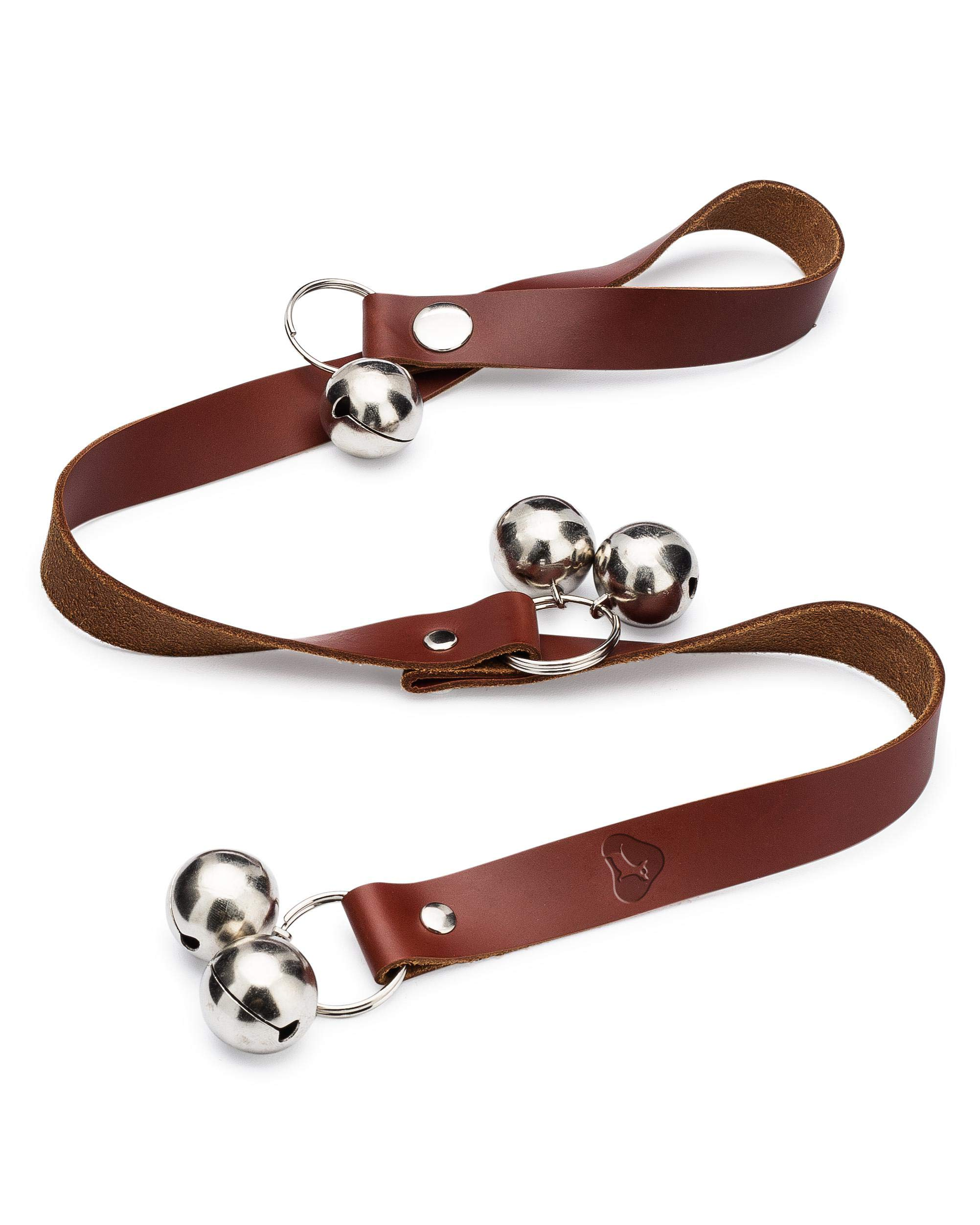 The Dog Goes Ruff Leather Dog Doorbells for Housetraining - Easy to Hear Door Bells for Housebreaking and Training Your Puppy - Instructions Included