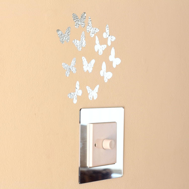 12 Mirror Silver Butterflies Wall Art Stickers: Amazon.co.uk ...