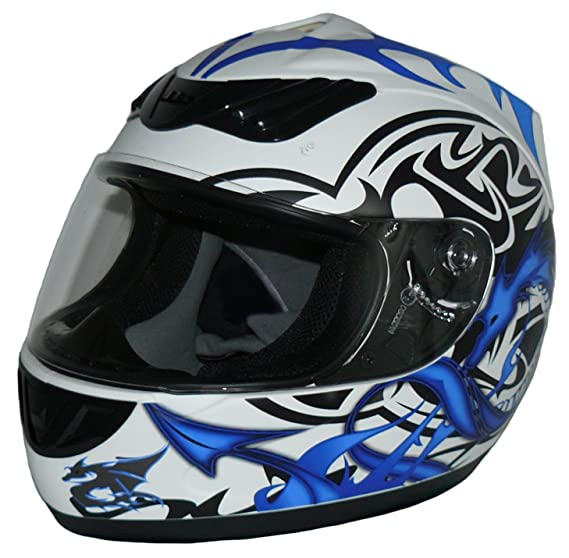 Amazon.es: Protectwear Casco de moto, diseño dragón, azul blanco, H510-11BL Tamaño S