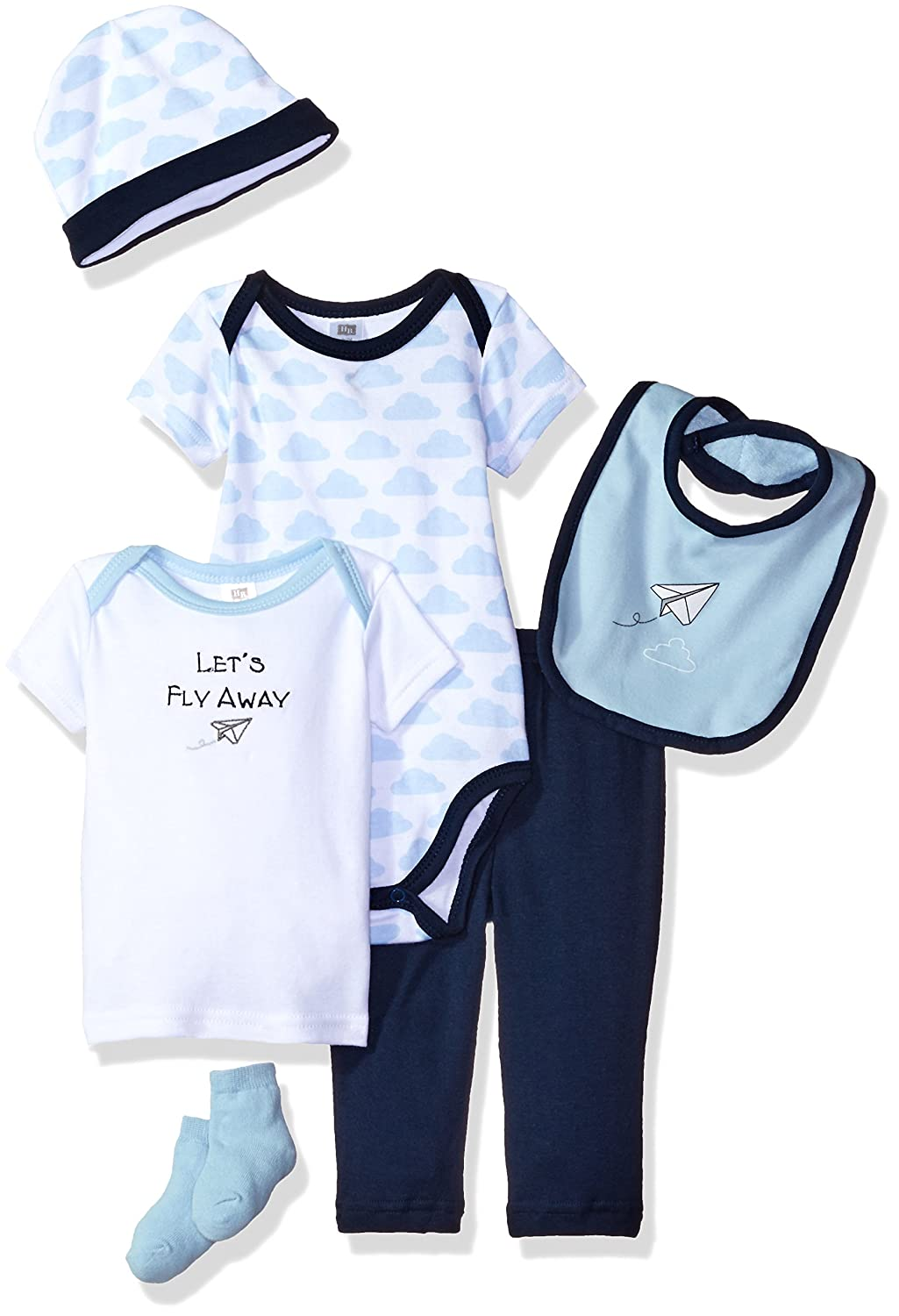 Hudson Baby Newborn Clothing Giftset in Giftbox 6-Piece Set, 0-3 Months Paper Airplane 6 0-3 Months (3M) 58106