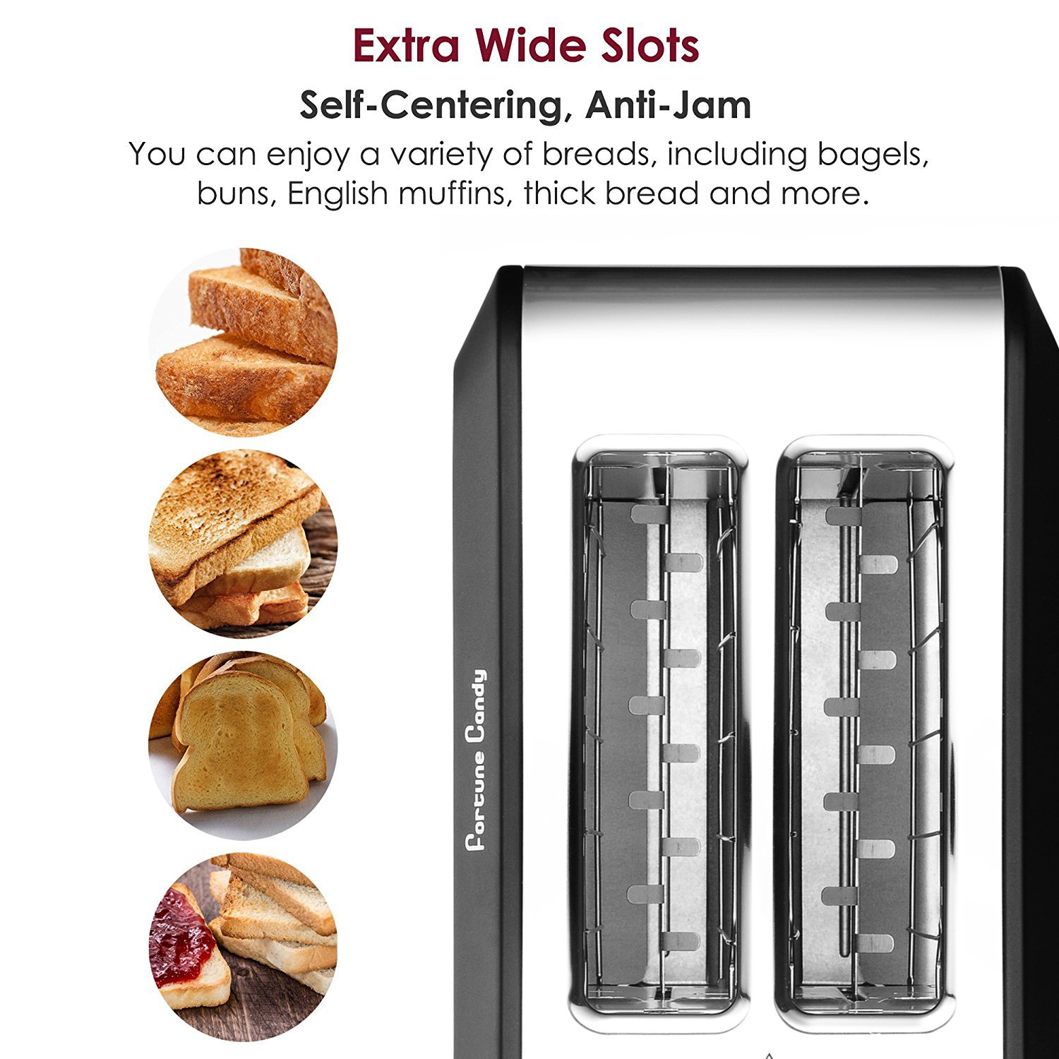 Fortune Candy Stainless Steel 2 Slices toaster, black toaster With Extra Wide Slot, 7-Shade Control by Fortune Candy (Image #2)
