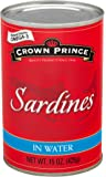 Crown Prince Sardines in Water, 15-Ounce Cans (Pack of 12)