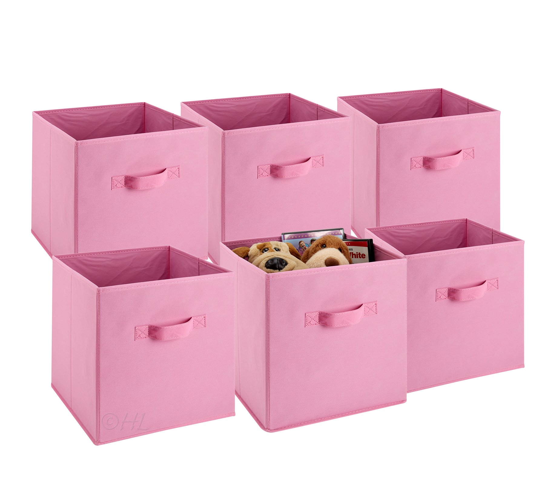 Foldable Cube Storage Bins - 6 Pack - These Decorative Fabric Storage Cubes are Collapsible and Great Organizer for Shelf, Closet or Underbed. Convenient for Clothes or Kids Toy Storage (Pink) by Handy Laundry