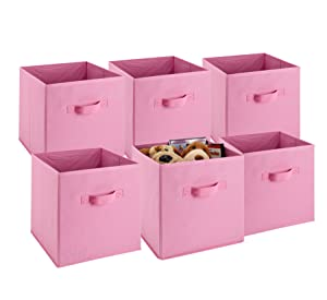 Foldable Cube Storage Bins - 6 Pack - These Decorative Fabric Storage Cubes are Collapsible and Great Organizer for Shelf, Closet or Underbed. Convenient for Clothes or Kids Toy Storage (Pink)