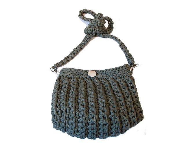 3307ed229997 Haki green Rope Crochet Handbag Tote Bag Size H 22cm W 25cm Handmade  Stylish Casual Comfortable  Handmade