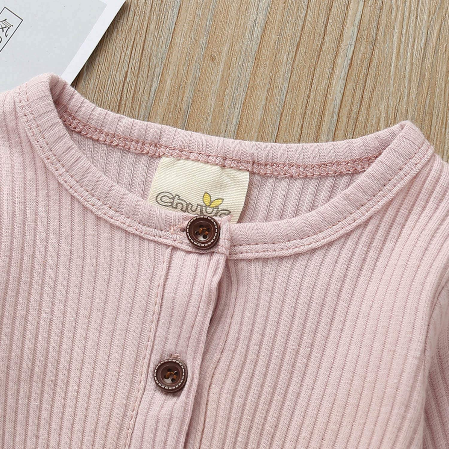 JBEELATE Newborn Baby Boys Girls Knit Jumpsuit Long Sleeve Button Down Romper One Piece Solid Bodysuit Winter Clothes Outfits