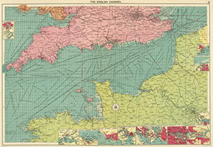 Amazon.com: World Atlas | 1922 English Channel. | Historic ... on on a physical map english channel, rise of flight channel, body of the central channel,