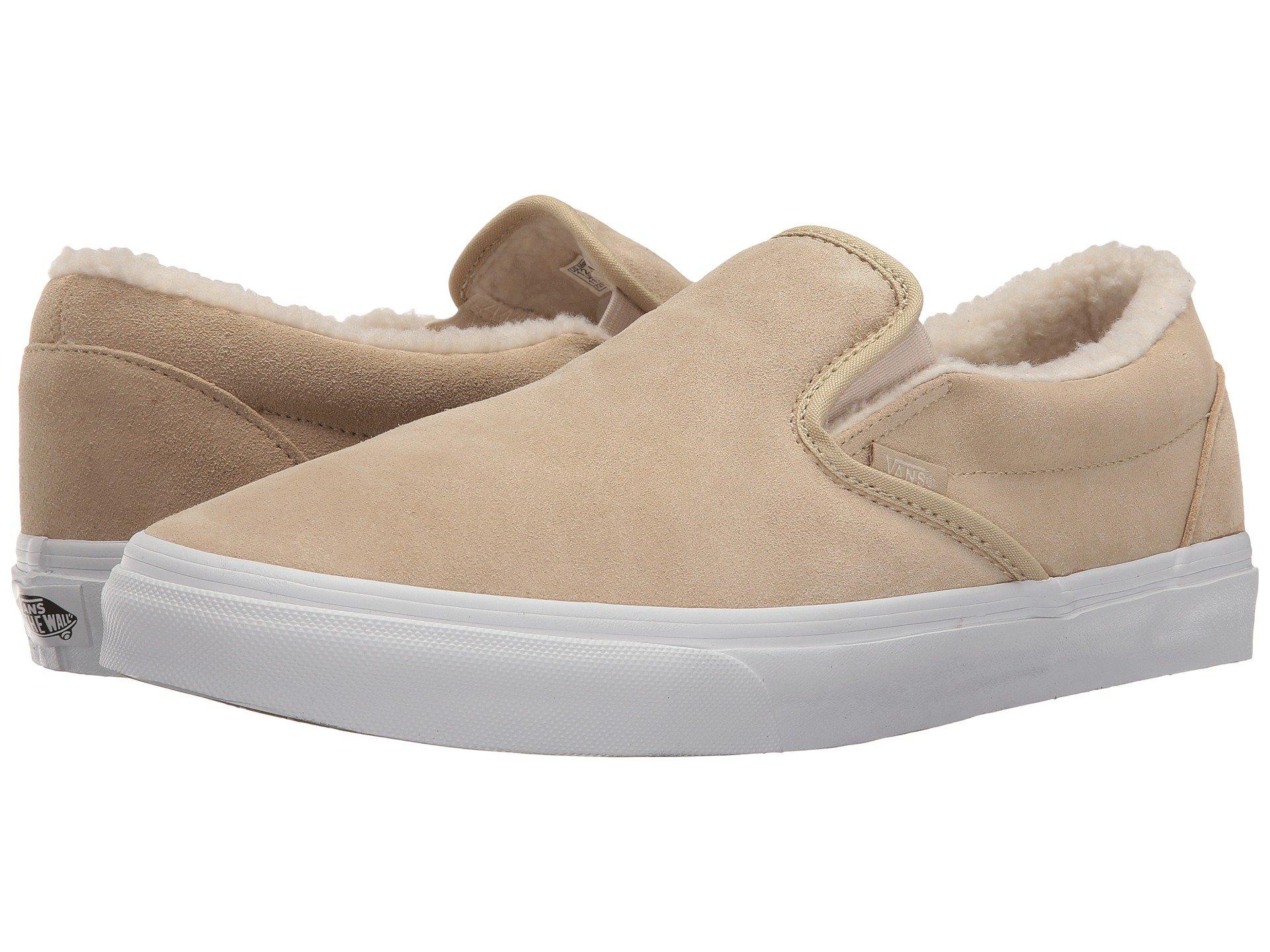 959058da05 Galleon - Vans Classic Slip On Suede Fleece Khaki True White Men s Skate  Shoes Size 8.5
