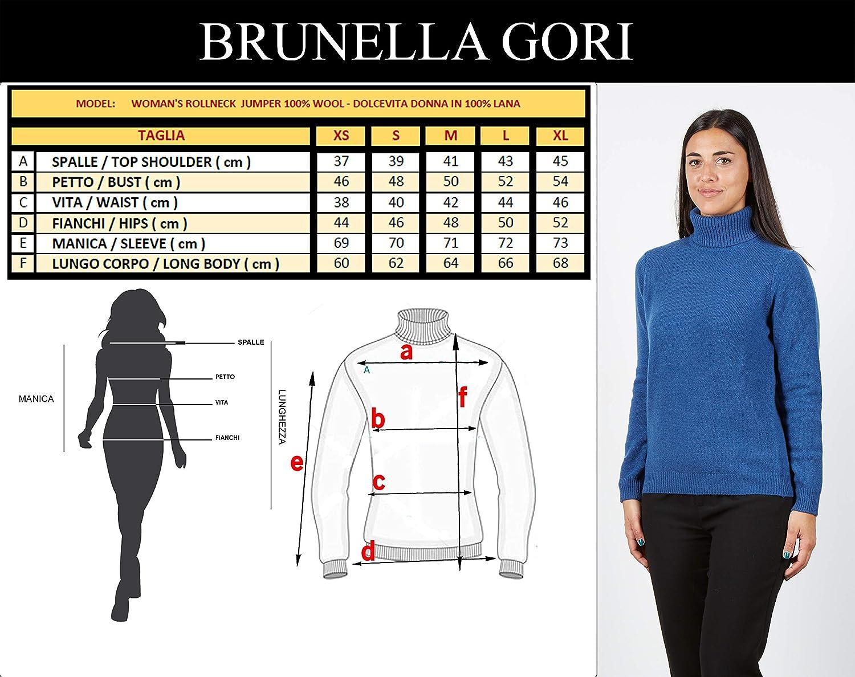 BRUNELLA GORI Pull /à col roul/é pour Femmes en 100/% Laine Vierge