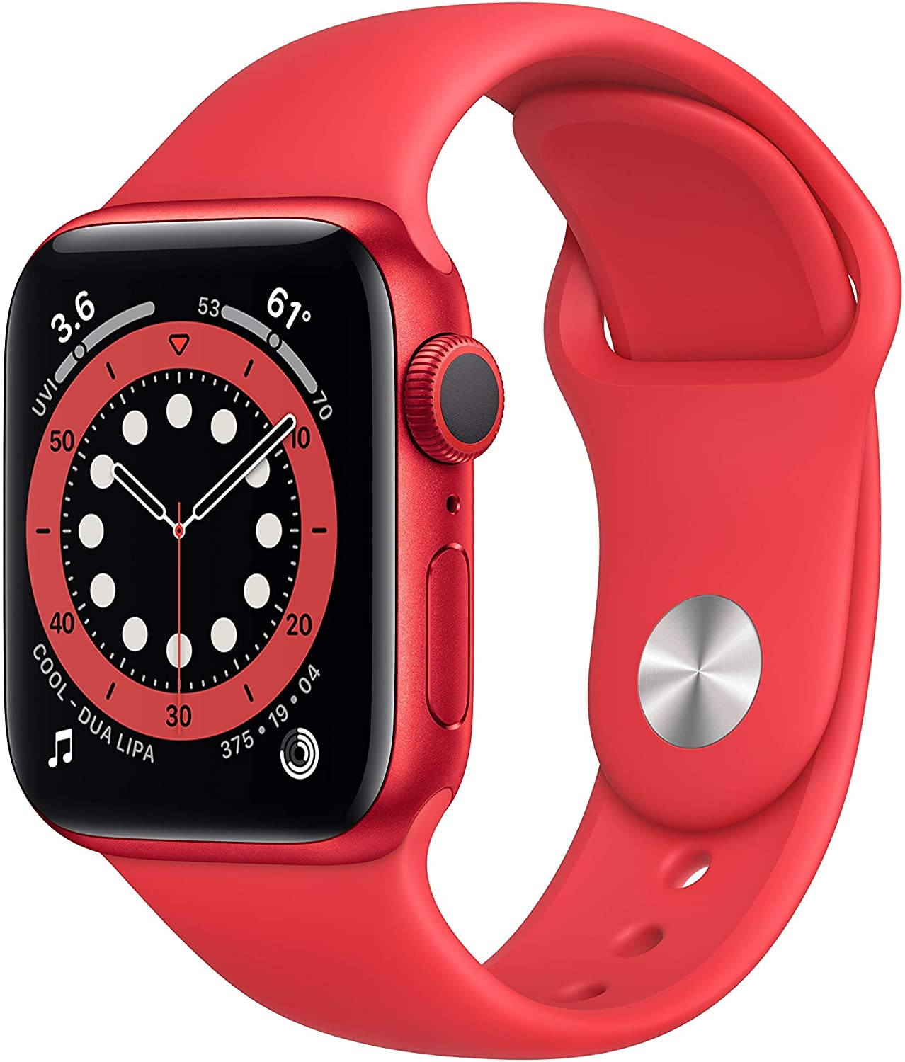 Apple Watch Series 6 (GPS, 40mm) - Red Aluminum Case with Red Sport Band (Renewed)