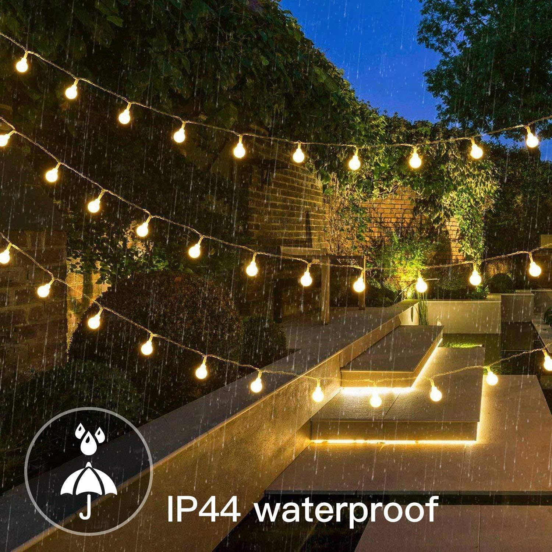 Guirnalda Luces 15 m 100 LEDs Jardines Decoracion para Navidad Cadena de Luces Blanco C/álido 8 modos Festivales P/érgolas IP44 Impermeable Patios Bodas Cobertizos Bajo Voltaje 31V