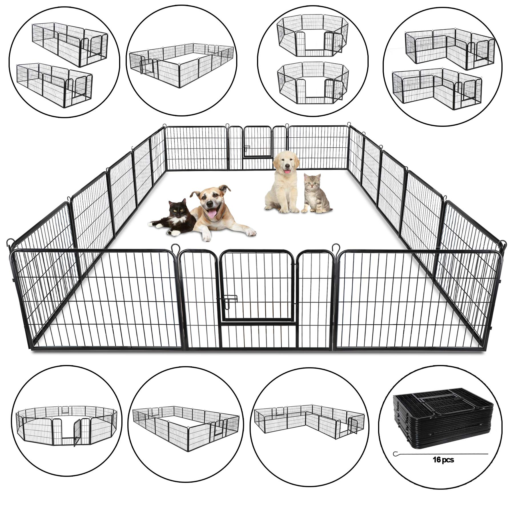 ZENY 31'' W x 24'' H Foldable Metal Exercise Pen & Pet Playpen Puppy Cat Exercise Fence Barrier Playpen Kennel - 16 Panels by ZENY