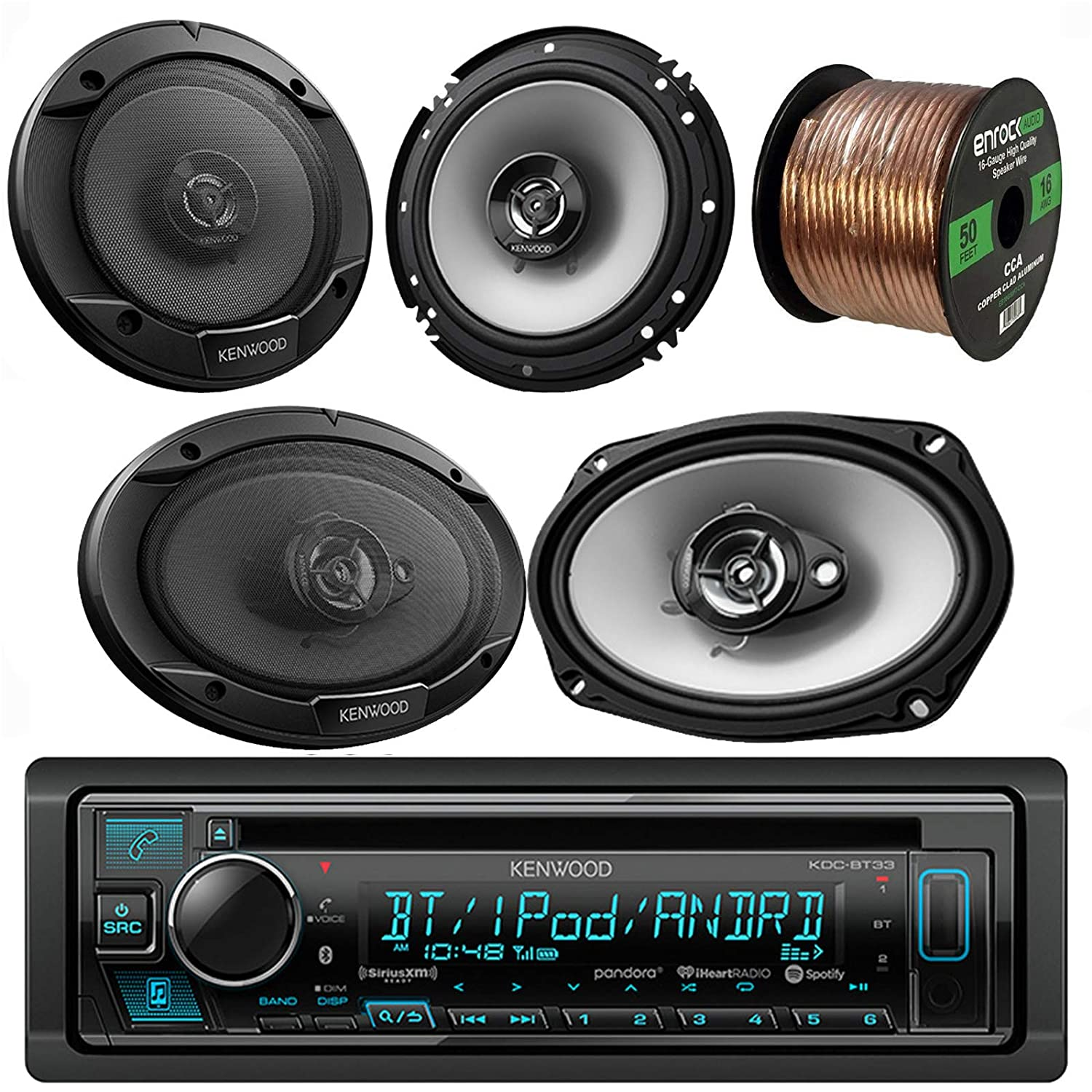 Kenwood Receiver With Two 6x9-Inch Speakers, Two 6.5-Inch Speakers, and Speaker Wire