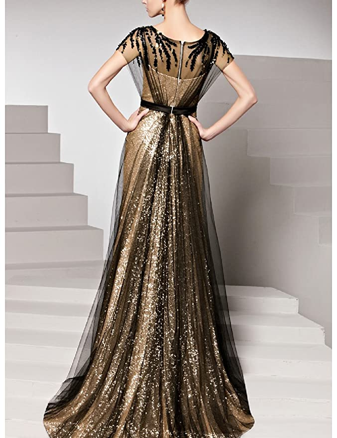 Amazon.com: OYISHA Womens Long Sequins A-line Evening Dress Formal Gowns with Sleeves 3SQ: Clothing